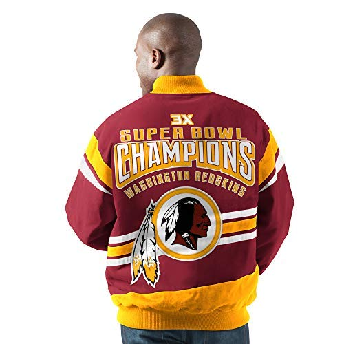G-III Sports Washington Redskins Gladiator 3 Time Super Bowl Champions Cotton Twill Jacket (Medium)