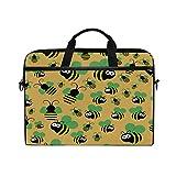 HaJie - Funda para ordenador portátil con estampado de abeja Emoji de 14 a 14,5 en bolsa de protección, maletín de viaje con correa para el hombro para hombres, mujeres, niños y niñas