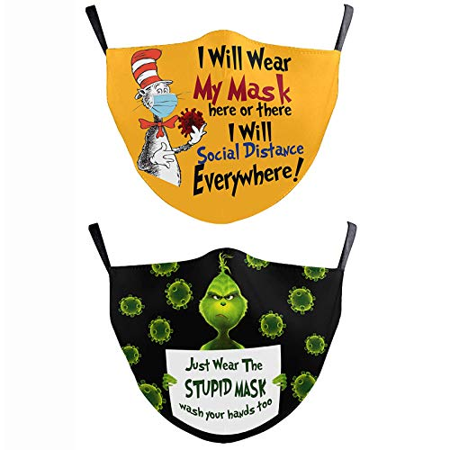 Cartoon Print 3 Layer Face Cloth Mask with Filter Pocket, Reusable Cotton Washable Fabric Breathable Face Covering for Kids (Black+Orange(2PCS))