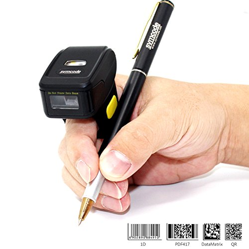 Bluetooth Ring 1D 2D QR Barcode Scanner,Wearable Wireless Finger Mini Bar Code Reader Compatible for Windows, Mac OS, Android 4.0+, iOS Support Scan QR PDF417 DataMatrix on Screen and Paper barcode scanner wireless