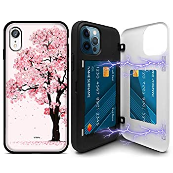 Compatible with iPhone 11 Case Cherry Blossom Custom Made Magnetic Hold Back Rugged Door Card Wallet Case Shockproof Protection Cover