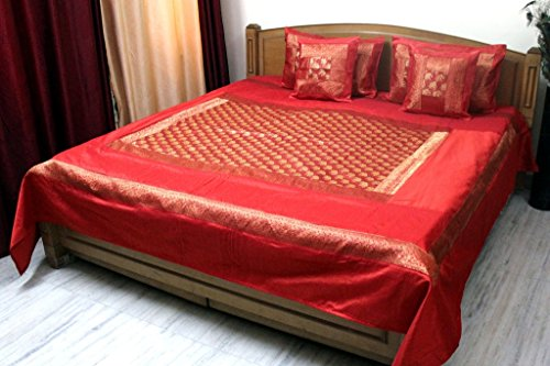 Stylo Culture Tagesdecke für Doppelbett, Polydupion, Elefant, Orange, Brokat-Bettwäsche-Set