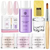 Saviland Acrylic Powder and Liquid Set - Professional Monomer Liquid acrylic powder System, 3 Colors Pink White Clear Nail Powder kit for Nail Extension