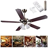 "Yescom 52""(1320mm) Bronze Finish Ceiling Fan with Light Kit Remote Control with 5"