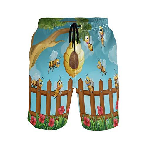 Heren zwemmen Trunks Grappige Cartoon Insect Bee met Honing Bloemenveld Quick Dry Board Shorts met Trekkoord en Zakken