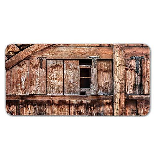 Alfombras De Pasillo Puerta de madera gris Largas Moquetas Largo Entrada Felpudos Patrón 3D Anti-desvanecimiento Anti-Sucio Aplicar para Ventana De Bahia Dormitorio Sala Lavable Cortable 50x80cm