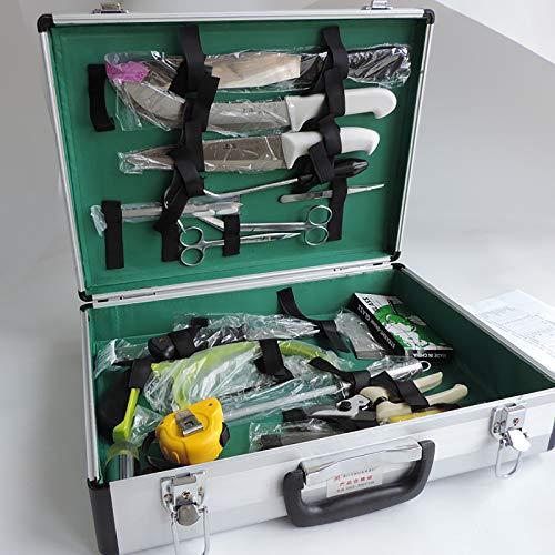 HYRL Kit de disección de Animales Grandes Paquete de Instrumentos quirúrgicos Caja de Almacenamiento de aleación de Aluminio para Cerdo, Vaca, Ganado, Oveja, Caballo