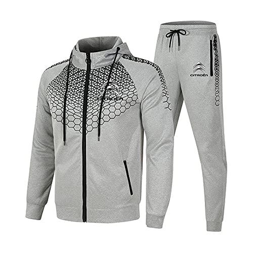 GPOL Conjunto de chándal para hombre y mujer Traje de jogging Citro-en Suéter con capucha a rayas de 2 piezas + Pantalones traje deportivo Completo/gray / 3XL