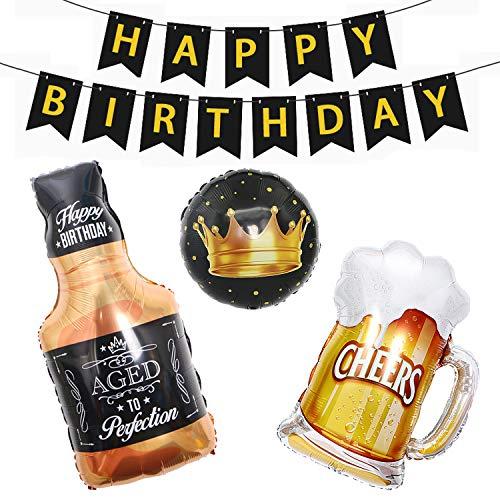 Pancarta de feliz cumpleaños con taza de cerveza, botella de whisky y corona de globos de papel de Mylar, suministros para decoración de fiesta de cumpleaños para hombres y mujeres