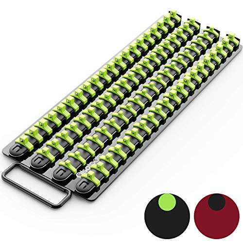 Olsa Tools Portable Socket Organizer Tray | Black Rails with Green Clips | Holds 80 Sockets | Premium Quality Socket Holder