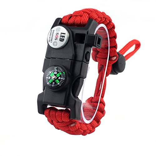 Adjustable Survival Bracelet, 7 Core Paracord 20 in 1 Emergency Sports Wristband Gear Kit with Waterproof LED SOS Light, Compass, Rescue Whistle, Fire Starter Multi-tool for Wilderness Adventure