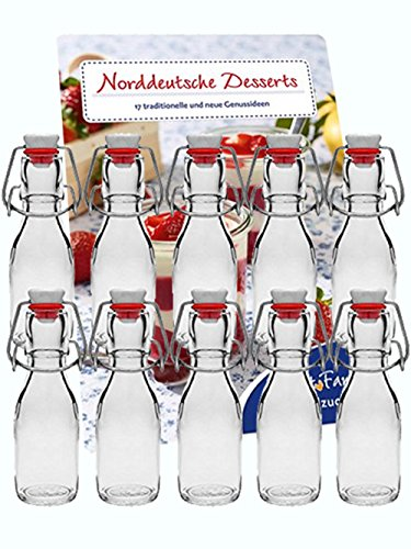 hocz 10er Set Bügelflaschen Bügelflasche Glasflaschen 100ml mit Bügelverschluss zum Selbstbefüllen Glas Bügelflachen