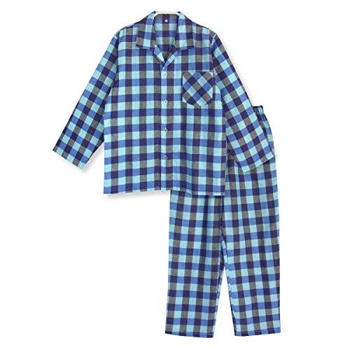 品 綿100% 長袖 ボーイズ パジャマ ふんわり ダブルガーゼ 春/夏 キッズ パジャマ ブロックチェック 110サイズ ブルー
