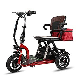 Msoah Mobility Scooter – Automatic Folding Mobility Scooter Folding Electric 3-Wheel Mobility Scooter Lightweight Portable Power Travel Scooter - Support Long Range(55km)- Electric Scooters for Adult