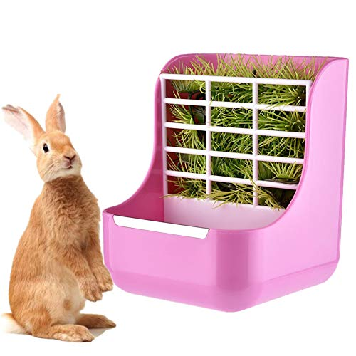 KunLS Accesorios Conejos Mascotas Heno Conejos Conejo Accesorios Conejo heno Titular Mascotas comederos Conejo de la Comida Rata de la Comida Pink