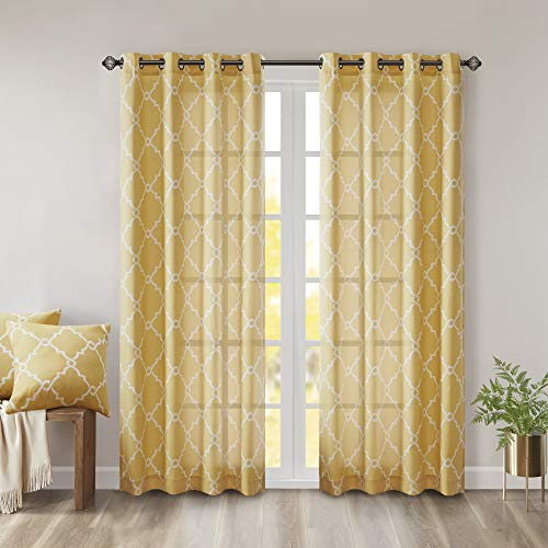 Madison Park Saratoga Window Curtain Light Filtering Fretwork Print 1 Panel Grommet Top Drapes/Valance for Living Room Bedroom and Dorm, 50x63, Yellow