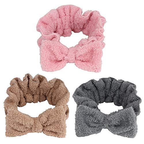 3 cintas de pelo con lazo suave de coral, pelo de coral, diadema para mujeres, maquillaje facial, banda elástica para la cabeza, lazo, para ducha, lavado de cara, moda y deporte