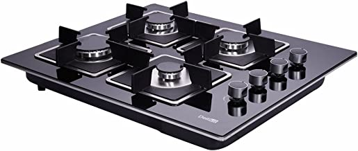 Deli-kit DK145-A02S 24 inch gas cooktop gas hob stovetop 4 Burners LPG/NG Dual Fuel 4 Sealed Burners Kitchen Tempered Glass Built-in gas Cooktop 110V AC pulse ignition