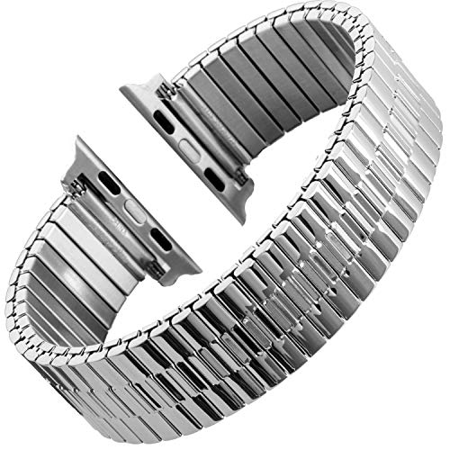 Gilden for Apple 38mm/40mm 42mm/44mm Expansion Wide Stainless Steel Metal Watch Band 552W-SMART Extra Long fits 42mm/44mm Apple Watch Silver