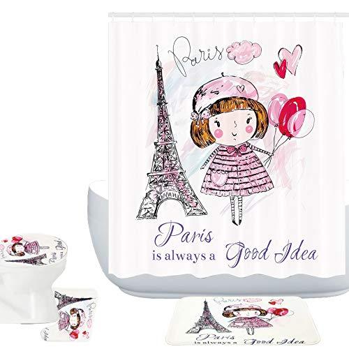 Amagical Paris Eiffelturm-Dekor 16-teiliges Badvorhang-Set Duschvorhang-Set EIN kleines Mädchen hält Luftballons Herzen eine Wolke & Turm Badematte Kontur Matte WC-Abdeckung Duschvorhang 12 Haken