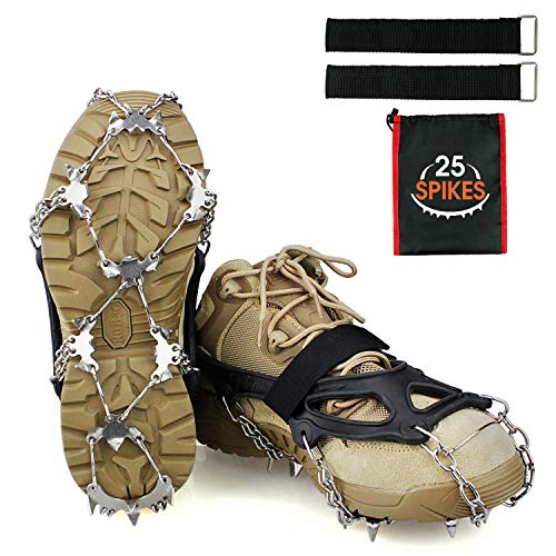 Steigeisen Ice Klampen mit 25 Zähne, Edelstahl Spikes und Silikon, Schuhkrallen Anti Rutsch Schuhspikes Grödel für Winter Walking Wandern Bergsteigen Bieten Sie einen besseren Sicherheitsschutz.