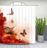 Cortinas de Ducha de Flores Rose Floral Plant Butterfly Spring Scenery Home Bathroom Decor Polyester Fabric Bathtub Cortina Set 180 * 200cm
