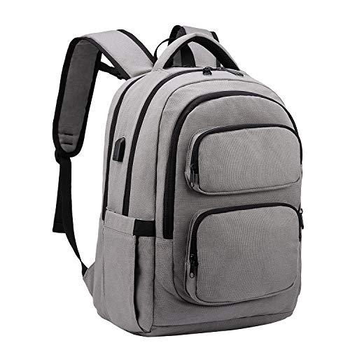 LOVEVOOK Laptop Rucksack Herren 15,6 Zoll Schulrucksack Jungen Teenager Daypack mit Usb-Ladeanschluss Multifunktion Business Notebook Taschen für Arbeit/Reisen Grau
