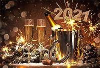 AOFOTO 10x7フィート 2021年大晦日 ディナーテーブル装飾 背景幕 お祝い 幸運 クレビス ホリデーパーティー 写真背景 シャンパンガラス ゴブレット ビジネスイベント イブニング レセプション フェスティバル 写真小道具