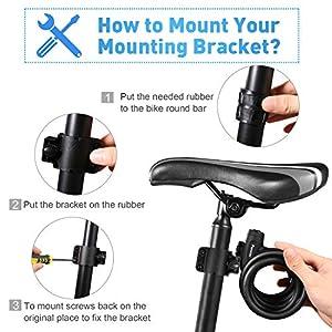 Funxim Bloqueo de la Bicicleta 180 cm / 12 mm con 3 Piezas de Llave y Cable de Metal, candado para Bicicleta, Carga Pesada, combinación Segura con Soporte de Montaje para Bicicleta Triciclo Scooter