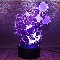 3Dナイトライト漫画かわいいミニー飲料水マウスマウス7色変更USBタッチナイトライトガールフレンズ子供キッズクリスマスギフト