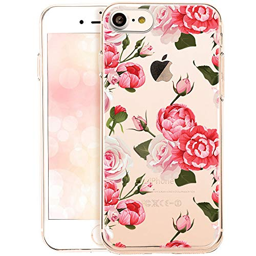 OOH!COLOR Handyhülle kompatibel mit iPhone SE 2020, iPhone 7 iPhone 8 Hülle transparent Blume dünn Bumper Silikon Schutzhülle durchsichtig Hülle mit Motiv Rosen