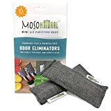 MOSO NATURAL Shoe Odor Eliminator. Air Purifying Bag for Sneakers, Gym Bags and Sports Gear. Charcoal Color 2 Pack