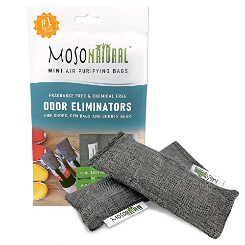 MOSO NATURAL: The Original Air Purifying Bag. Fragrance Free, Chemical Free, Long Lasting, Moisture Absorbing Odor Eliminator for Shoes, Gym Bags and Sports Gear. Charcoal Color 2 Pack
