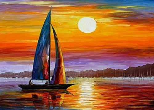 Tabella Barca di tramonto, dimensione 60/90cm, orientamento orizzontale, Pittura ad Olio su tela di cotone montata su telaio in legno. Nessun lavoro di stampa. Tabella firmato.