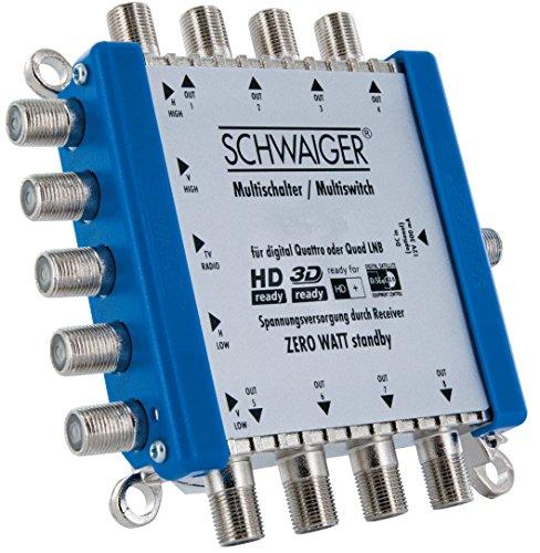 SCHWAIGER -5200- Multischalter 5 -> 8 / Verteilt 1 SAT-Signal auf 8 Teilnehmer/SAT-Verteiler/SAT-Splitter mit externem Netzteil/digital Multiswitch/in Kombination mit einem Quattro LNB