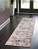 Rugs.com Charleston Collection Rug – 10 Ft Runner Pink Low-Pile Rug Perfect for Hallways, Entryways