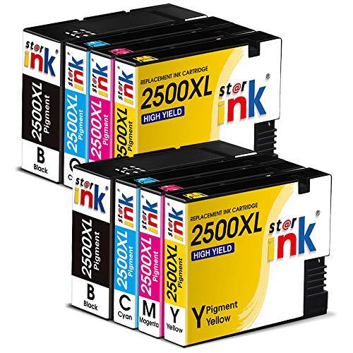 Starink 2500XL - Cartuchos de tinta compatibles para Canon MAXIFY iB4050 iB4150 MB5050 MB5150 MB5155 MB5350 MB5450 MB5455 (2 negro, 2 cian, 2 magenta y 2 amarillo)