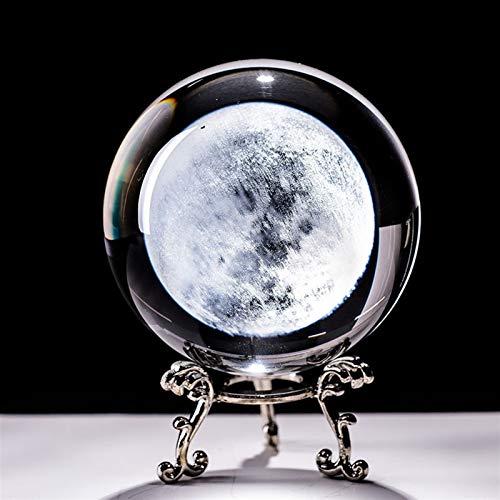 ACEACE 6cm Moon Globe Miniatura Bola de Cristal 3D Grabado Cuarzo Cuarzo Bola Ball Sphere Decoración del hogar Ornamentos de estatuilla Regalos (Color : Only Ball, Size : 60mm)