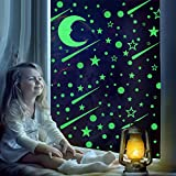Airbin 257 Glow in The Dark Stars Moon for Ceiling or Wall Stickers, Glowing Wall Decals Stickers, Room Decor Kit, Glow Star Set and Moon Decal for Kids, Gifts for 1-14-Year-Old Girl and Boy