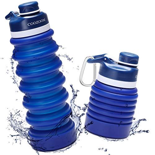 COOZOOM 25oz/750ml Collapsible Water Bottle BPA Free Food-Grade Silicone Leak Proof Reusable...