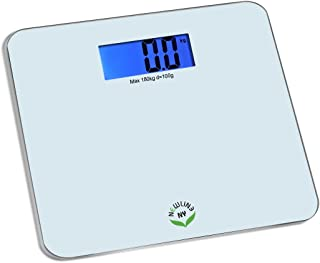 """NewlineNY Step On Comfort-Edge Extra Large 4.3"""" Cool Blue Backlight Display Bathroom Scale, SBB0868-WH Off White"""