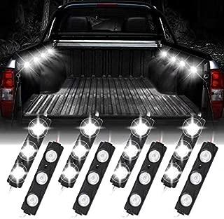 Led Bed Truck Lights,8 PCS 24 LEDs 12V Led Strip Lights for Pickup Car,White Rock Lighting Accessories Kits,1 Year Warranty
