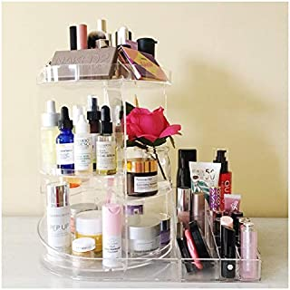 SUNFICON Cosmetic Organizer Rotating, Multi-Function Acrylic Clear Large Capacity Makeup Holder Storage Box Display Stand with Adjustable Trays