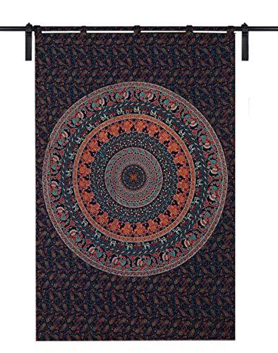 Mandala - Cortina para puerta de ventana, cortina para colgar, tamaño individual, 125 cm x 208 cm, diseño psicodélico redondo, para sala de niños y niñas, diseño étnico