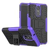 TiHen Handyhülle für LG stylo4/LG Q Stylus Hülle, 360 Grad Ganzkörper Schutzhülle + Panzerglas Schutzfolie 2 Stück Stoßfest zhülle Handys Tasche Bumper Hülle Cover Skin mit Ständer -lila