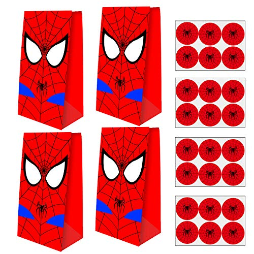 YNOUU 24 PCS Superhero Spider-Man Party Bags Goodie Bags with 24 Pieces...