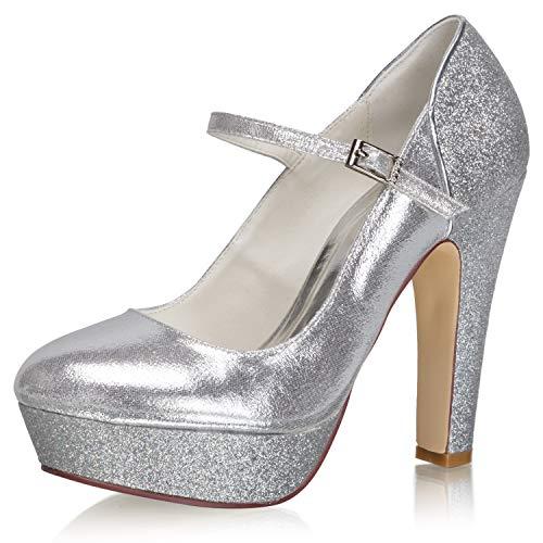 JIAJIA 34864 - Zapatos de novia para mujer, punta cerrada, 4.7 pulgadas,...