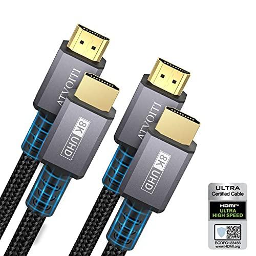 Cable HDMI 2.1 de 8K, 2m, certificado Atvoiti Ultra HD, 48Gpbs, de alta velocidad, compatible con cable HDMI 8K60Hz 4K120Hz 10K RTX 3090 eARC HDR10 para PS5/4/XBox Serie X/Sam-Sung/So-ny TV