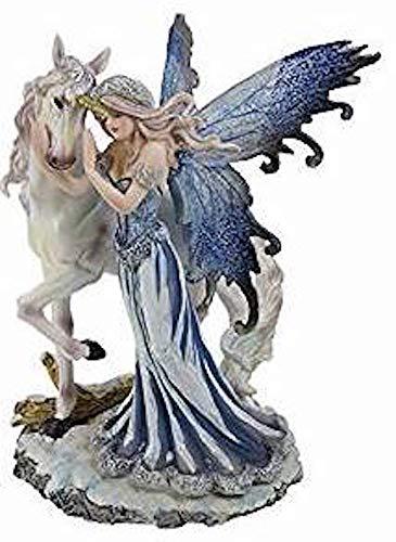 Nemesis Now - Statuetta con fata che conforta l'unicorno, 21,5 cm (NEM3412)