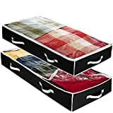 Underbed Storage Bag Organizer (2 Pack) Large Capacity Storage Box with Reinforced Strap Handles, PP Non-Woven Material, Clear Window, Store Blankets, Comforters, Linen, Bedding, Seasonal Clothing